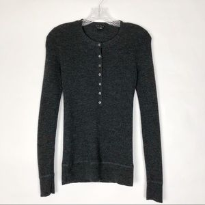 Theory | Charcoal Ribbed Button Wool Pullover Sm